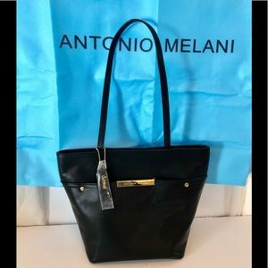 NWOT leather Antonio Melani black shoulder bag